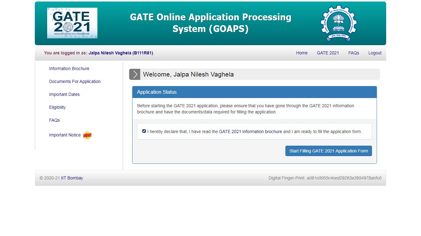 GATE Online Application Processing System Application Filling